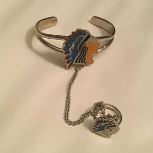 Jewelry - NATIVE INDIAN SILVER SLAVE BRACLET RING, NEW